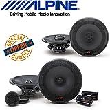 Alpine R-Series 6.5 Inch 300 Watt Coaxial 2-Way Car Audio Speakers, Alpine R-Series 6.5 Inch 300 Watt Component 2-Way Car Speakers