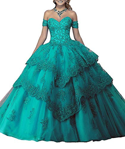 WiWiBridal 2018 Women's Sweetheart Quinceanera Dresses Lace Applique Prom Gowns Turquoise16