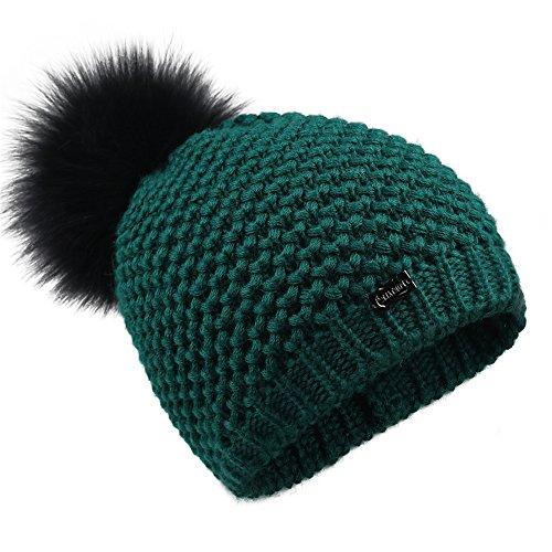 FURTALK Winter Knit Pom Pom Hat - Merino Wool Beanie With Detachable Real Fox Fur Ball Hats For Women Girls Original