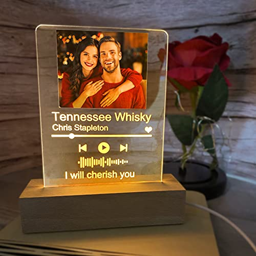 Custom Muisc Glass Art Night Light,Scannable Music Plaque Photo Lamp Personalized,Customized Acrylic Song Album Cover for Room Decor,Valentines Day Decor,Mothers Day Gifts,Birthday Gifts