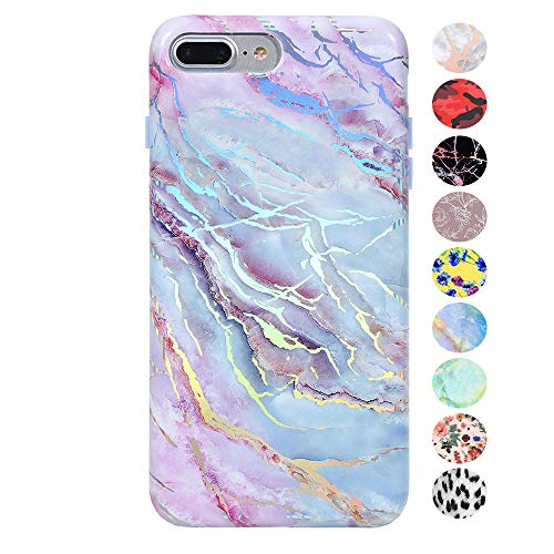 Velvet Caviar Holographic Pink Blue Marble iPhone 8 Plus Case/iPhone 7 Plus Case - Premium Protective Cover - Cute Moonstone Phone Cases for Girls & Women [Drop Test Certified]