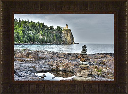 Lighthouse Rock Split Pictures (Symbols of Strength By Todd Thunstedt 17.5x23.5 Lake Superior Agate Bay Lighthouse Sailing Tall Ship Ocean Sea Split Rock Two Harbors Edmund Fitzgerald Framed Art Print Wall Décor Picture)