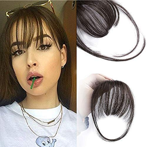 AISI QUEENS Clip in Bangs Human Hair Extensions One Piece in Fringe Natural Flat Air Bangs with Temple for Women(Color:Natural Color) from AISI QUEENS