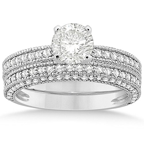 Vintage Semi-Eternity Round Cut Diamond Solitaire Bridal Set w/ Milgrain in Platinum (Round Solitaire Semi Eternity Ring)