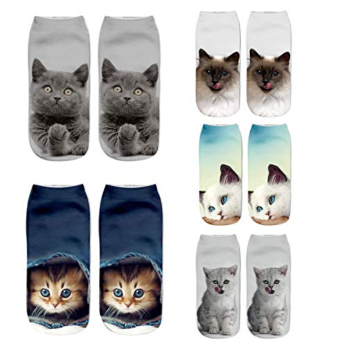 (Womens Girls 3D Novelty Colorful Funny Cat Pug Ankle Socks, Crazy Cute Cartoon Low Cut Kitty Socks 5 Value Pack)