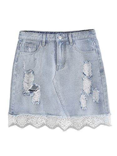 Pvc Lace Skirt - Verdusa Women's Casual Distressed Fray Hem A-Line Denim Short Skirt Blue-Lace M