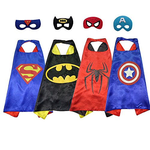 Happytime Superman Cape and Mask with 4 Different Superhero Dressing Up Costumes for Kids (4 Pack For (Different Spiderman Costumes)