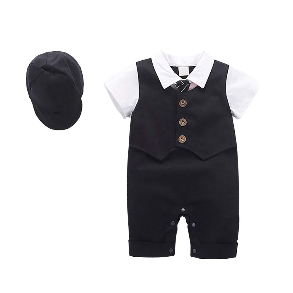 Baby Summer Outfit Set Short Sleeves with Bow Tie Clothing Set Toddler Boy Gentleman Clothing Suits(12-18Month Dark Blue-1) by Yilaku