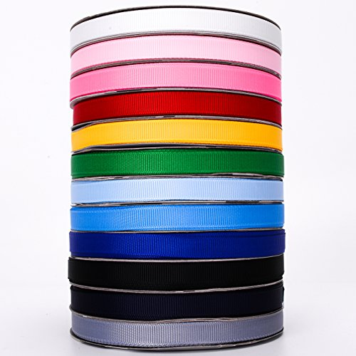 Grosgrain Ribbon Variety Pack, 12 x 33 Yards, 3/8-Inch | Solid & Fray Resistant Polyester | For Arts & Crafts, Gift Wrapping, Home & Wedding Decor, Hair Bows, Garlands & (Fancy Shape Diamond Necklace)