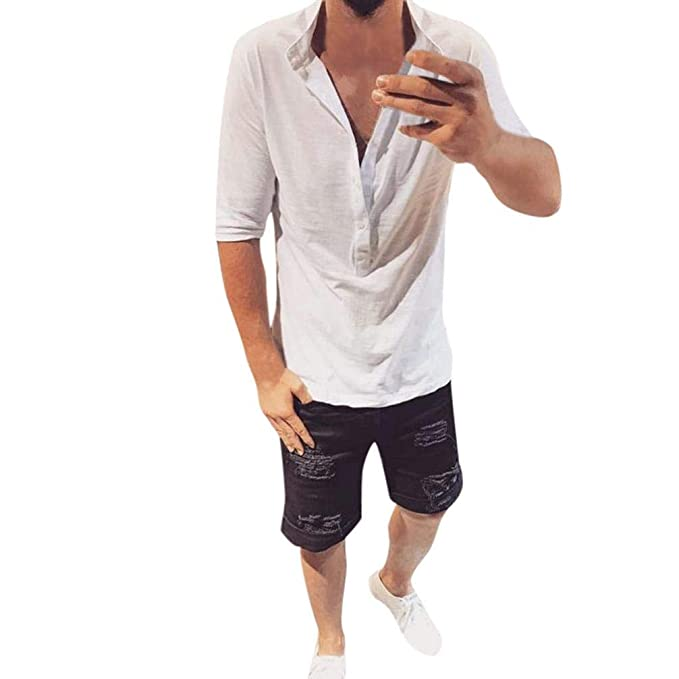 Resplend Los Hombres de Moda otoño Invierno botón de Media Manga Delgada Tops Casual Blusa Camisas: Amazon.es: Ropa y accesorios