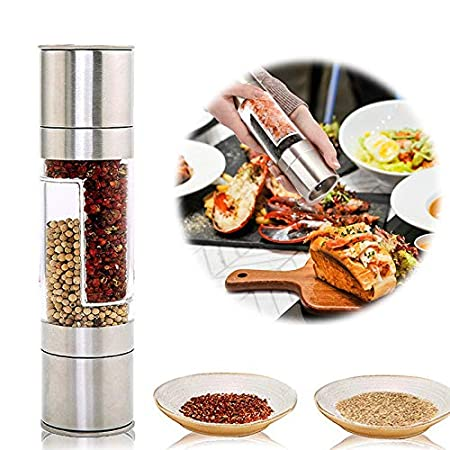 Brushed Stainless Steel and and Clear Acrylic Body 2 in 1 Salt /& Peppercorn Shakers with Adjustable Coarseness Salt and Pepper Mills Grinder