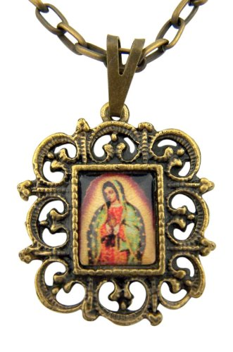 Our Lady of Guadalupe Epoxy Icon 1 Inch Bronzed Base Medal on 18 Inch Chain ()