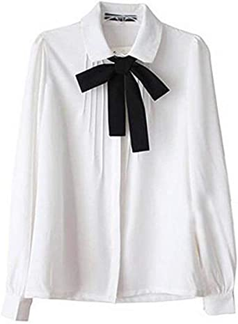 Blusas Mujer Primavera Otoño Manga Larga De Solapa con Mode De Marca con Lazo Elegantes Camisas Tops Fashion Slim Fit Casual Oficina Camicia Bluse Camisas Blancas: Amazon.es: Ropa y accesorios