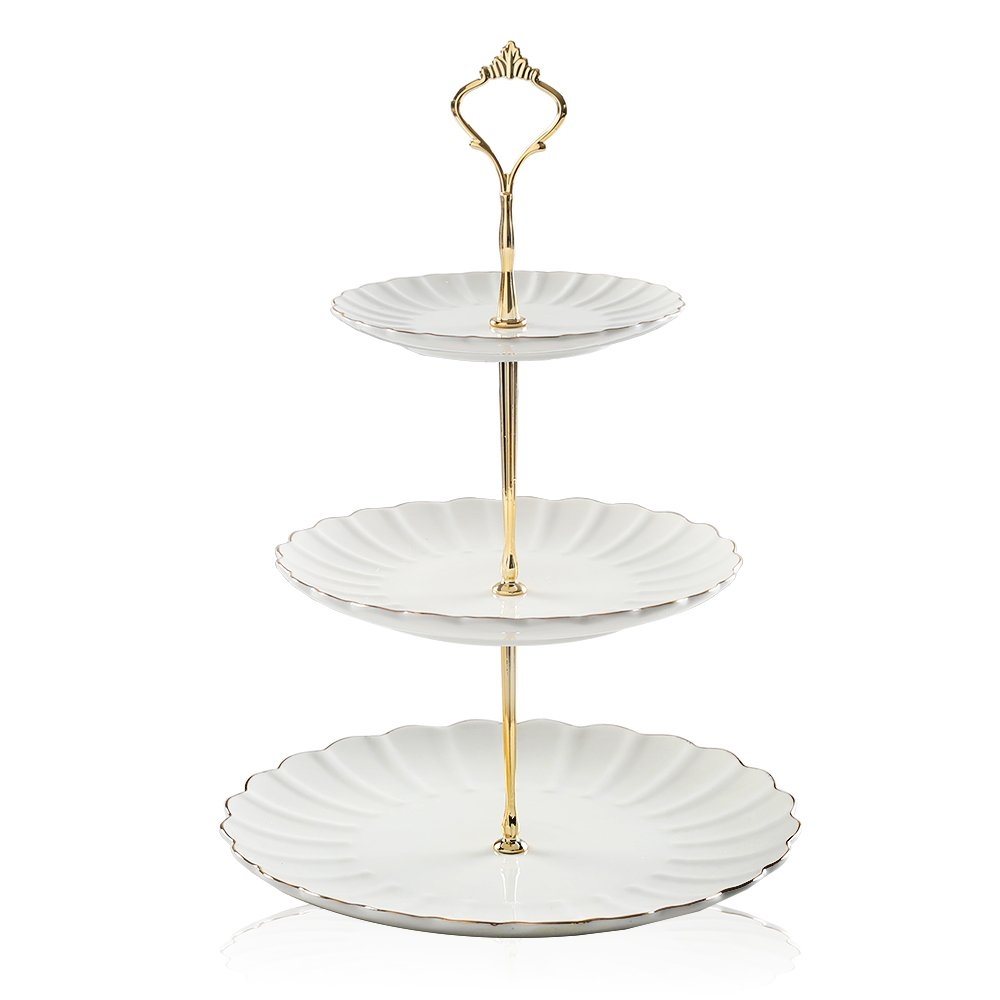 Pukka Home 3 Tier Ceramic Cake Stand Wedding, Dessert Cupcake Stand for Tea Party Serving Platter