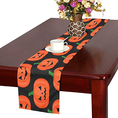 Halloween Pumpkin Happy Table Runner, Kitchen Dining Table Runner 16 X 72 Inch for Dinner Parties, Events, Decor