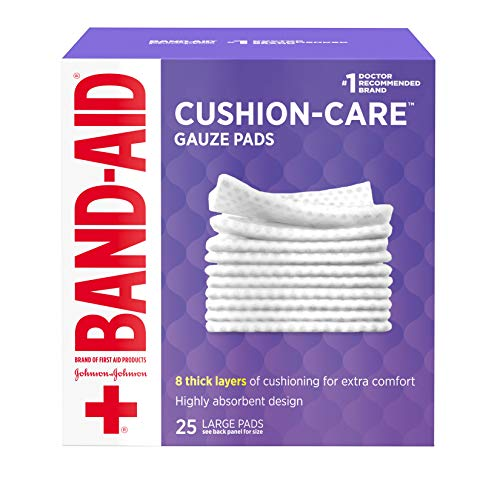 - Band-Aid Brand Cushion Care Non-Stick Gauze Pads, Individually-Wrapped, Large, 4 in x 4 in, 25 ct