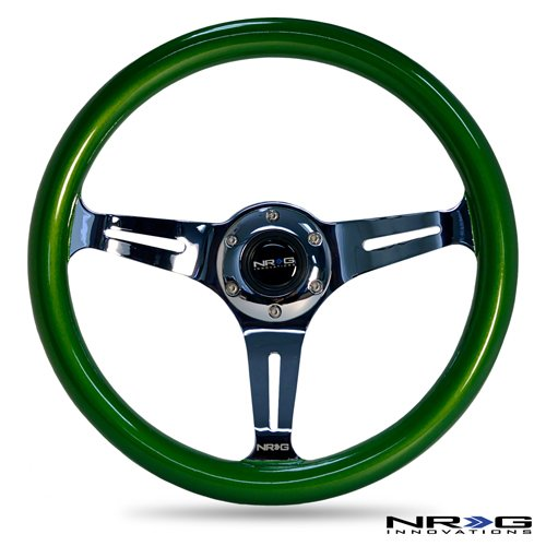 nrg-innovations-st-015ch-gn-classic-wood-grain-wheel-350mm-3-chrome-spokes-green-pearl-flake-paint