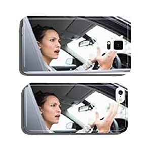 Pretty businesswoman experiencing road rage cell phone cover case Samsung S5