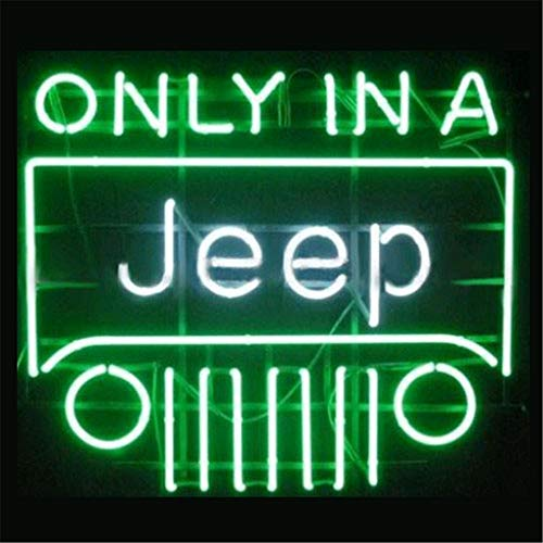 Neon Lights Signs, ONLY in A Jeep Decor of Beer Bar Bedroom LivingRoom GameRoom Showcase Real Glass Pure Hand Curved 17x14 Inches