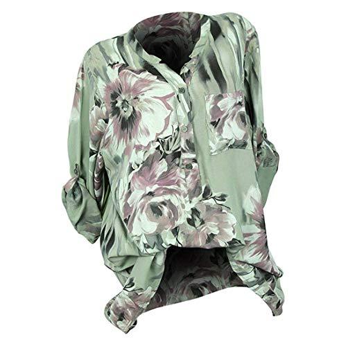 À Blouse Taille Femmes Imprimer Les Lâche Bouton Vêtements Sauvage V cou Plus Tops La Blanc Shirt Pour Manches Casual Grün Longues Pull Serré IdCPxdwtq8