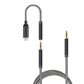3-in-1 Aux Cord for iPhone,3.5mm Aux Cord//Cable Compatible with iPhone X//8//7//Plus//6s//XS//XR//XS MAX Adapter Cable to Car Stereo//Speaker//Headphone Adapter,Support The Newest iOS 12 Version or Above