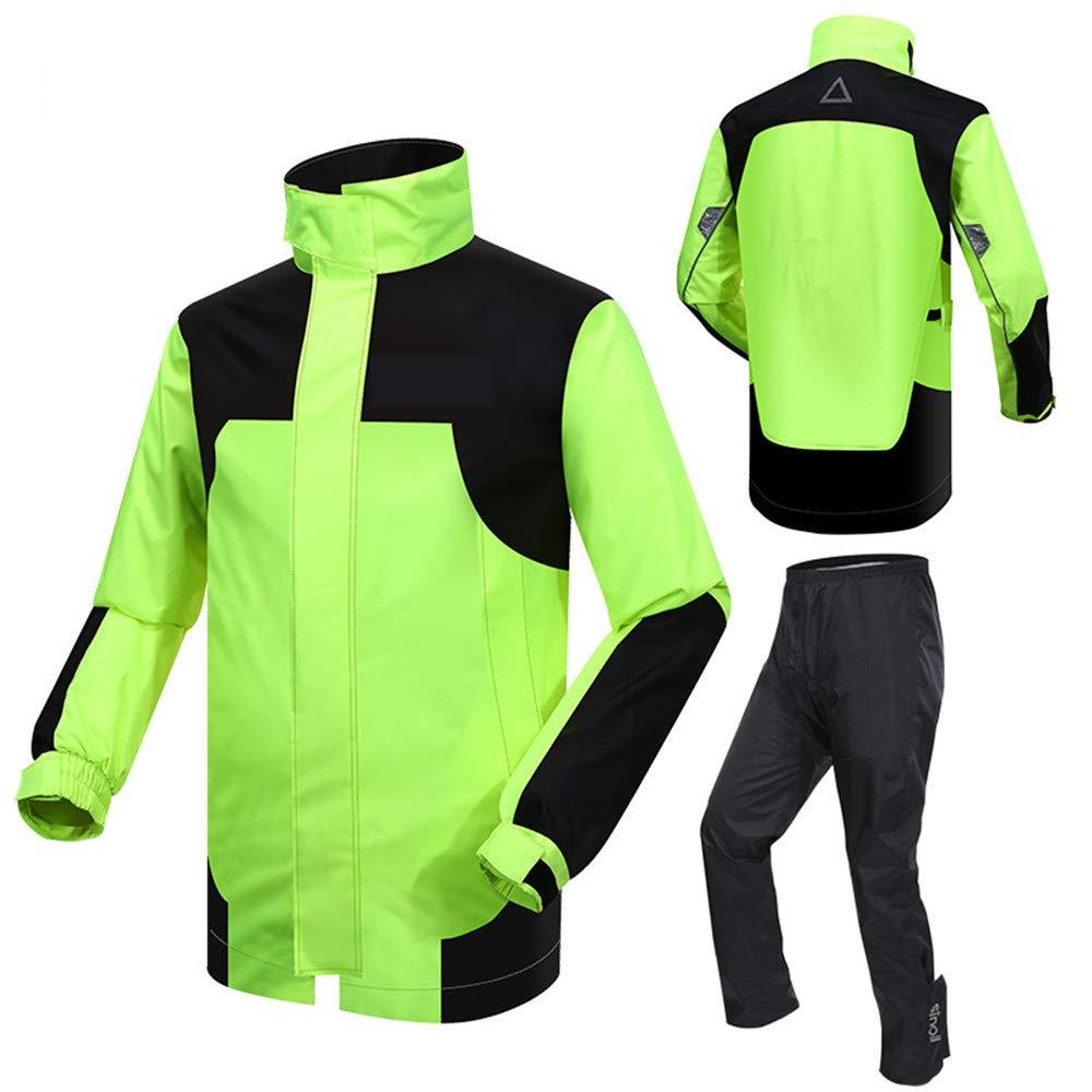 GLJJQMY Raincoat Riding Raincoat Raincoat Motorcycle Raincoat Adult Single Riding Split Raincoat Set Waterproof Waterproof Rain Poncho (Color : Black+Green, Size : L)