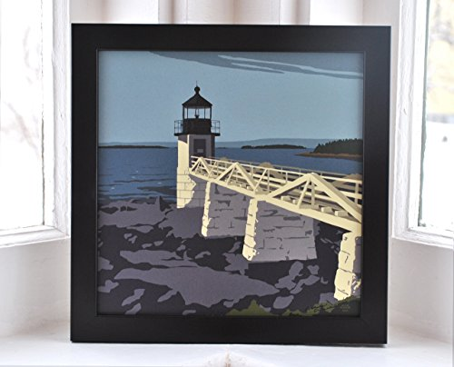 Marshall Point Light, Maine Framed Print (8x8 Square, Wall Decor Art) - Marshall Point Light