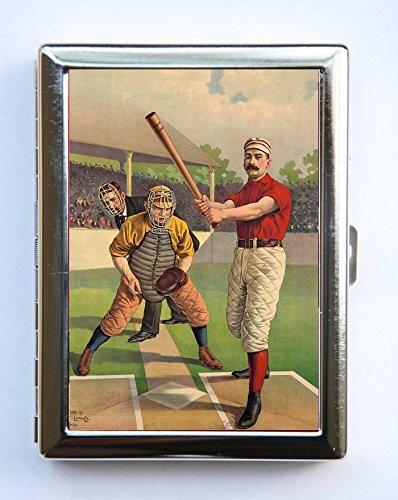 Baseball Batter Cigarette Case Wallet Business Card Holder catcher umpire ()