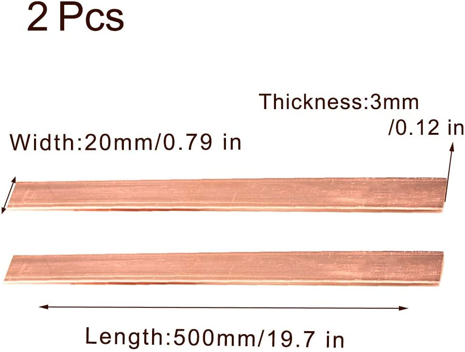 DIY Leitende Industrie 500 mm,3mm x 10mm x 500mm L/änge Zewoi 2 St/ück Kupfer Reihe T2 Reines Cu Bar Blatt Block