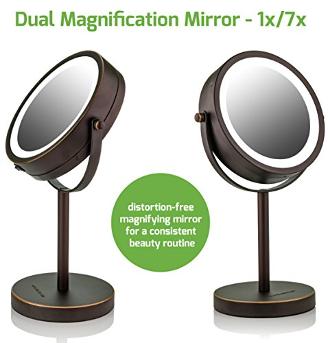 Ovente Lighted Tabletop Makeup Mirror, 6 Inch, Dual-Sided 1x/7x Magnification, Cordless, Operated, Cool-Tone LED Lights, Antique Bronze (MLT60BZ1X7X) by Ovente (Image #2)