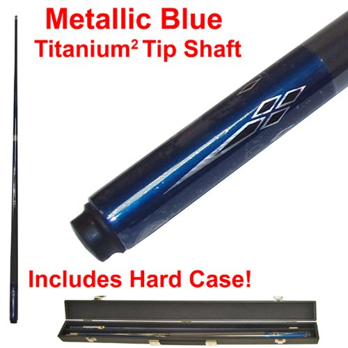 2 Piece Deluxe Metallic Blue Titanium Pool Stick Cue - With Carrying Case! by TMG