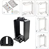 PS4 Multifunctional Game Disk Storage Tower Holder For Playstation 4 Console and DualShock 4 Controllers