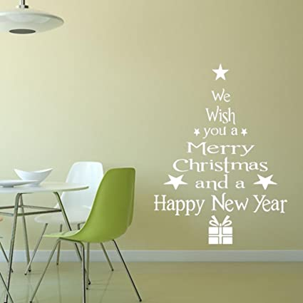 Amazon.com: Merry Christmas Wall Stickers Decoration, Removable ...