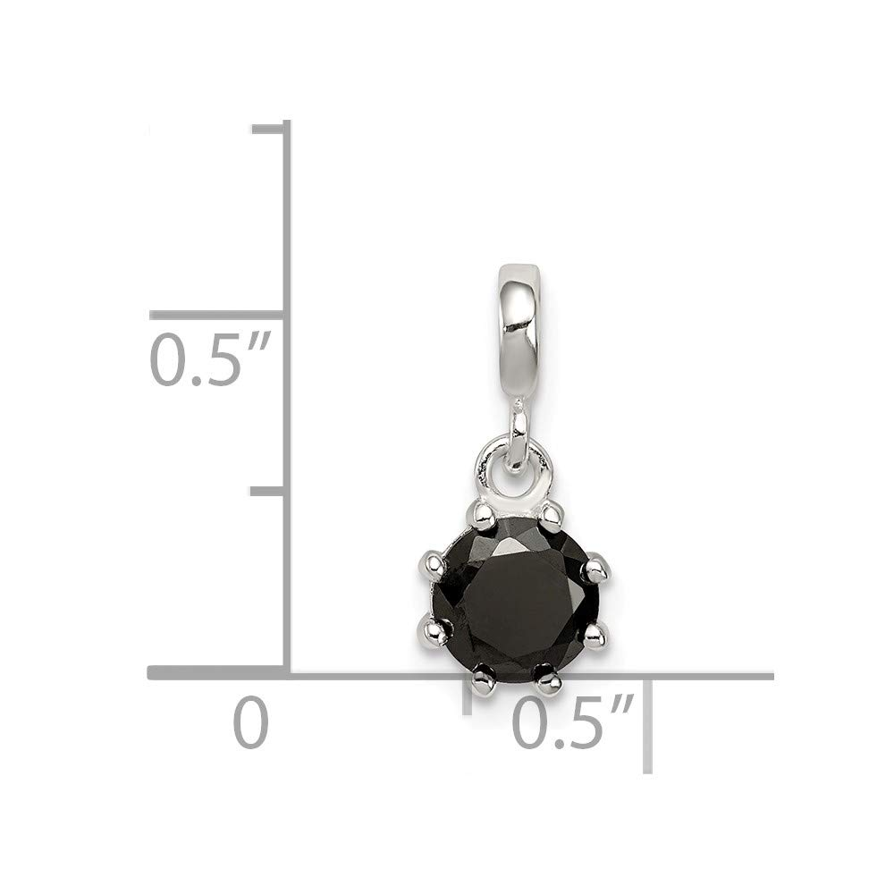 Sterling Silver Black CZ Enhancer Solid 8 mm 17 mm Pendants /& Charms Jewelry