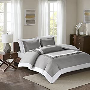 Comfort Spaces - Malcom Mini Duvet Cover Set - 3 Piece – Grey - King Size, Includes 1 Duvet Cover, 2 Shams