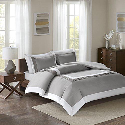 Comfort Spaces Malcom Mini Duvet Cover Set - 3 Piece – Grey - Queen Size, Includes 1 Duvet Cover, 2 (Mini Duvet Set)