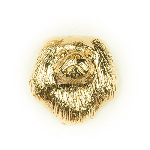 PEKINGESE Made in U.K Artistic Style Dog Clutch Lapel Pin Collection 22ct Gold (Pekingese Dog Miniature)