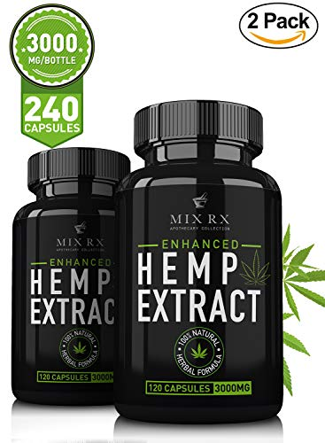 2 Pack  Hemp Oil Capsules For Pain Relief Anxiety  3000Mg   240 Pills  Best Natural Organic Hemp Seed Oil Extract For Anti Inflammatory  Anxiety  Pain Relief  Sleep   100  Pure Hemp Supplements