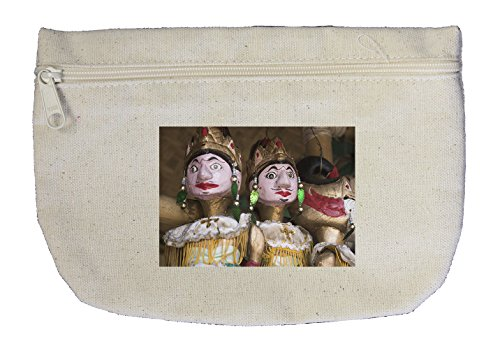 Canvas Zipper Pouch Makeup Bag Wayang Golek Wood Puppet Style In Print