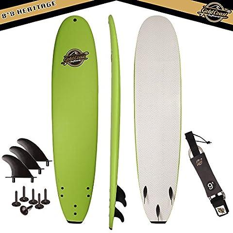 Gold Coast Surfboards - 8'8 Soft Top Foam Surfboard -The Heritage- High Performance Foam Surfboard -CrocSkin Foam Deck, Double Concave Bottom Deck, Rubber Logo, 3 Stringers, GoPro Mount, No Wax - Soft Foam Top