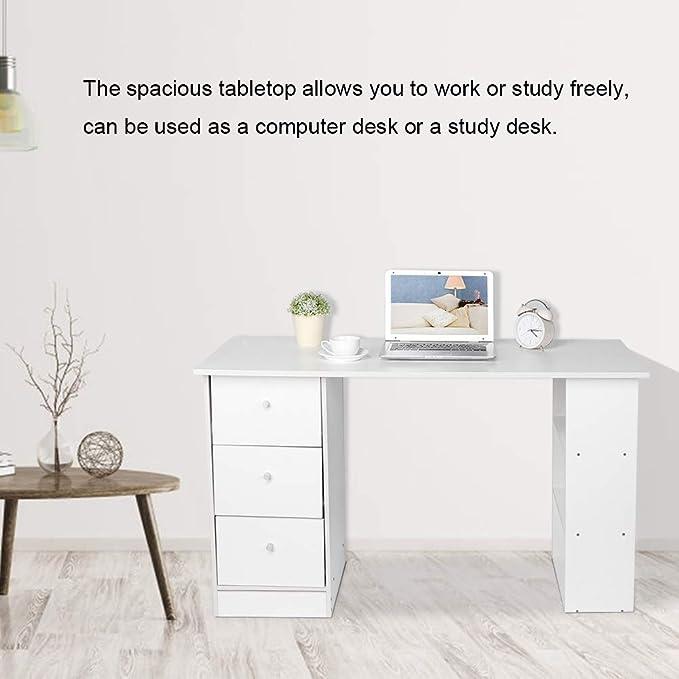 Blanc Homfa Bureau Table d/'Ordinateur Table d/'/Étude Table de Travail PC pour Salon avec 2 Tiroirs 108x48x76.5cm