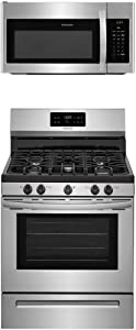 """Frigidaire 2-Piece Stainless Steel Kitchen Package with FFGF3054TS 30"""" Freestanding Gas Range and FFMV1645TS 30"""" Over-the-Range Microwave"""