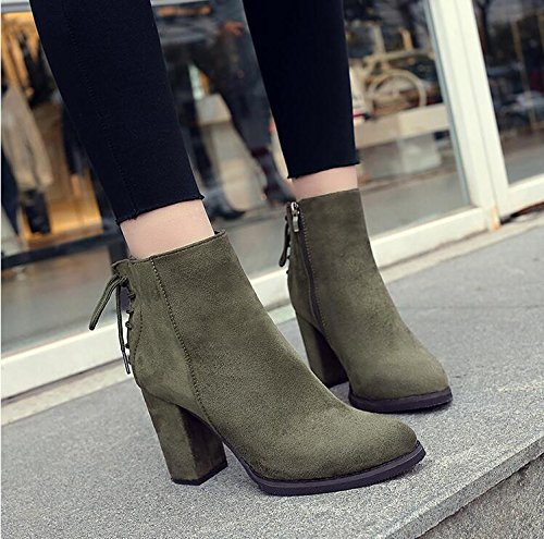 KHSKX-Tip Army Green Thick With High-Heeled Shoes Boots And Shoes Martin Short Spring And Autumn And Winter The Tether Strap Satin Single Boots 38 Q0Kjcvj