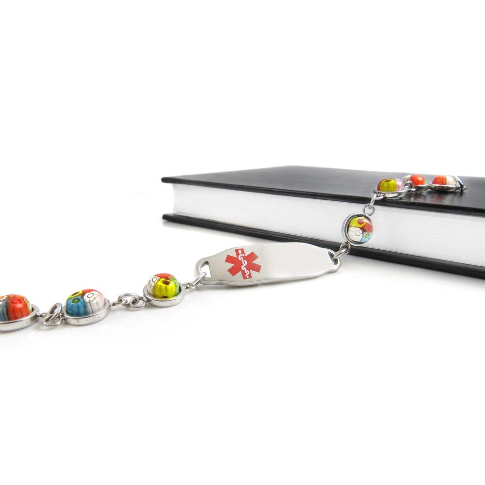 Pre-Engraved /& Customizable Hypertension Medical Bracelet Red My Identity Doctor Pattern Millefiori Glass