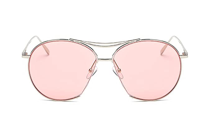 02a06d912222a Amazon.com  SojoS Round Aviator Mirrored Flat Light Color Drive Lenses  Unisex Sunglasses SJ1020 With Silver Frame Pink Lens  Clothing