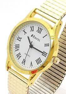 Ravel R0201.13.1 - Reloj de hombre con correa extensible y números romanos, color dorado