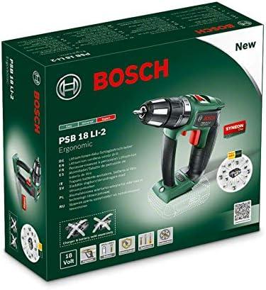 Bosch Akku Schlagbohrschrauber PSB 18 LI-2 Ergonomic 2 Akku, 18 Volt System, b/ürstenloser Motor, im Koffer