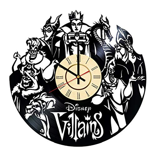 Disney Villains Vinyl Clock Gifts for Disney Fans Evil Queen Wall Decor Maleficent Art Cruella De Vil Handmade Ursula Living Room Artwork -