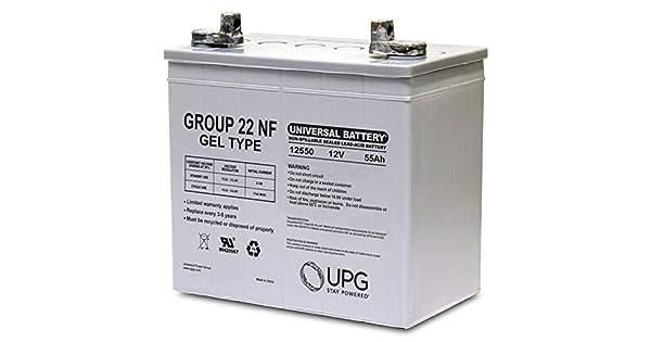 Amazon.com: Batería 12 V, 55 Ah (Grupo 22 NF) Gel para John ...