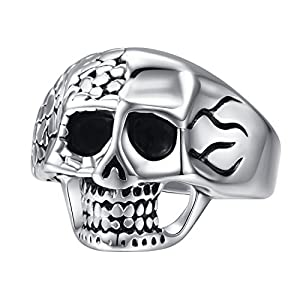 Silver Black Stainless Steel Ring Engagement Rings Wedding Rings Men's Skull Head Ring Size 8-12